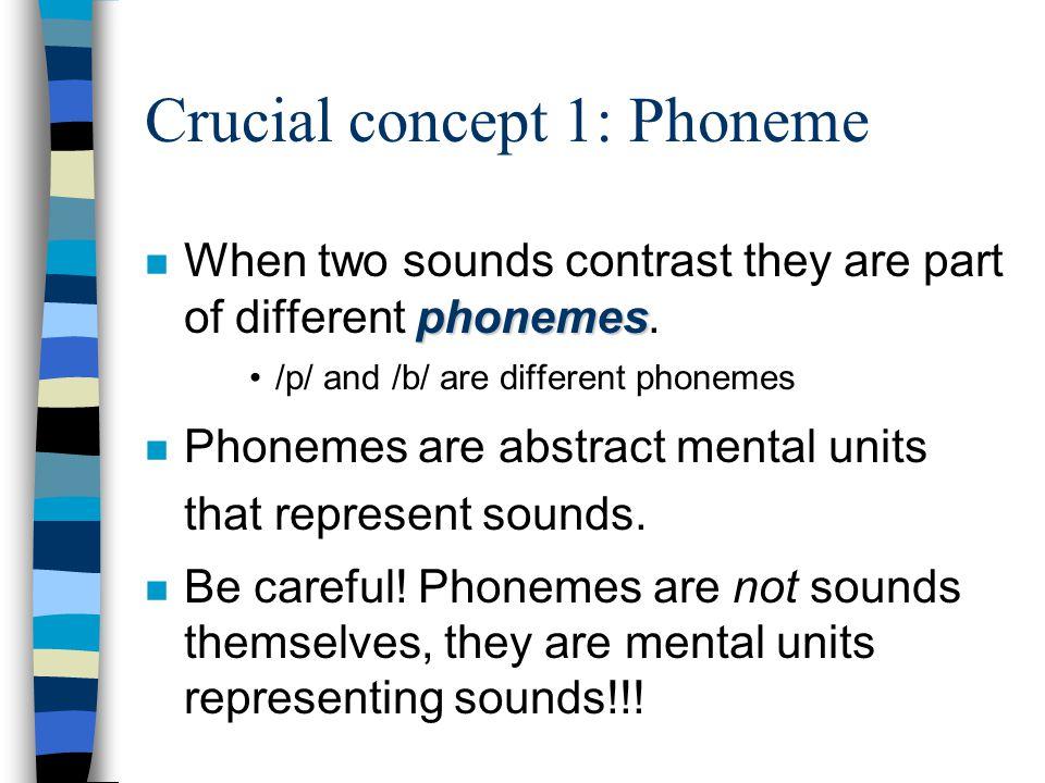 Crucial concept 1: Phoneme