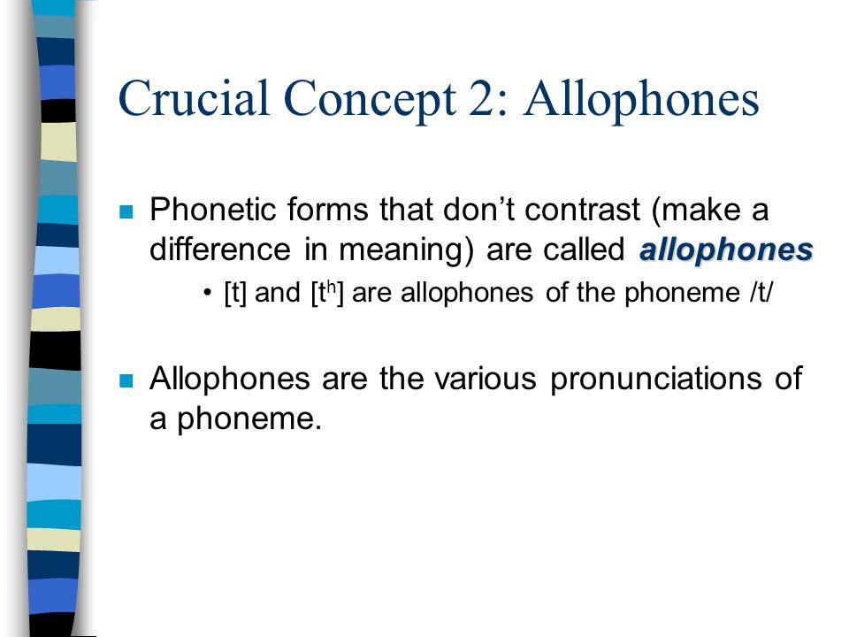 Crucial Concept 2: Allophones