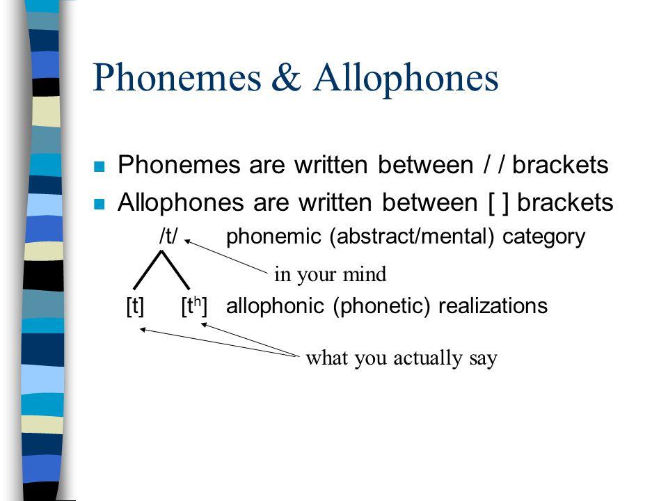 Phonemes & Allophones Phonemes are written between / / brackets