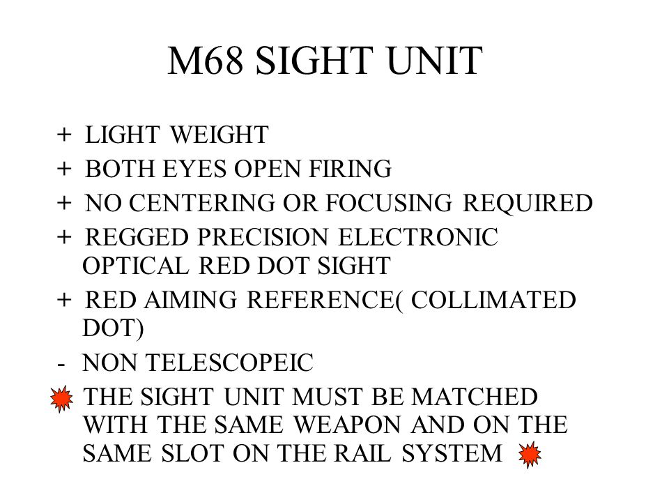 M68 SIGHT UNIT + LIGHT WEIGHT + BOTH EYES OPEN FIRING