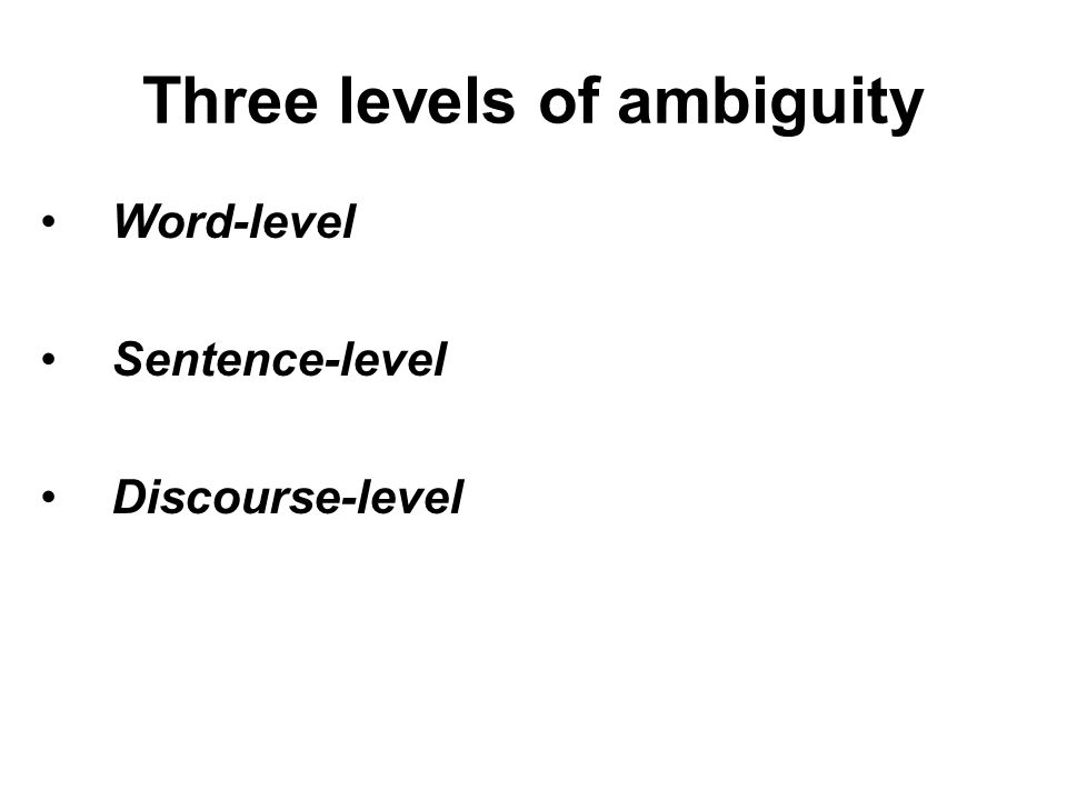 Three levels of ambiguity