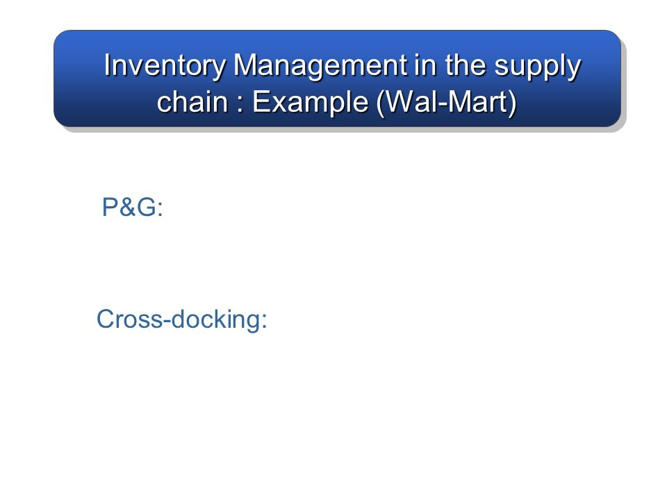 Inventory Management in the supply chain : Example (Wal-Mart)