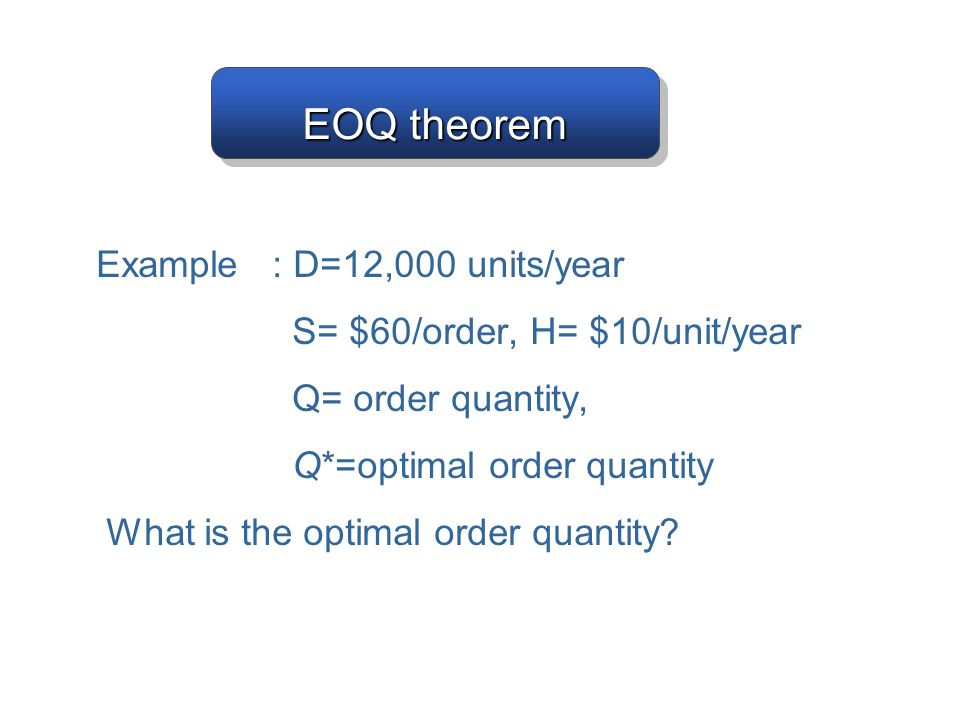 EOQ theorem Example : D=12,000 units/year