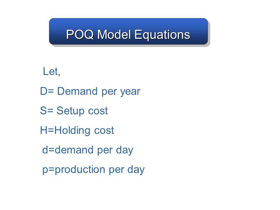POQ Model Equations D= Demand per year S= Setup cost H=Holding cost