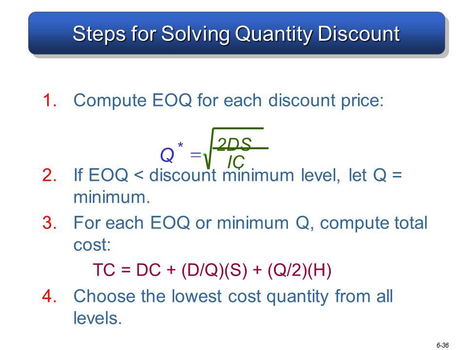 Steps for Solving Quantity Discount