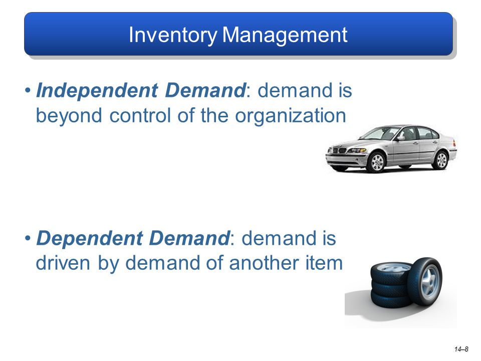Inventory Management Independent Demand: demand is beyond control of the organization.