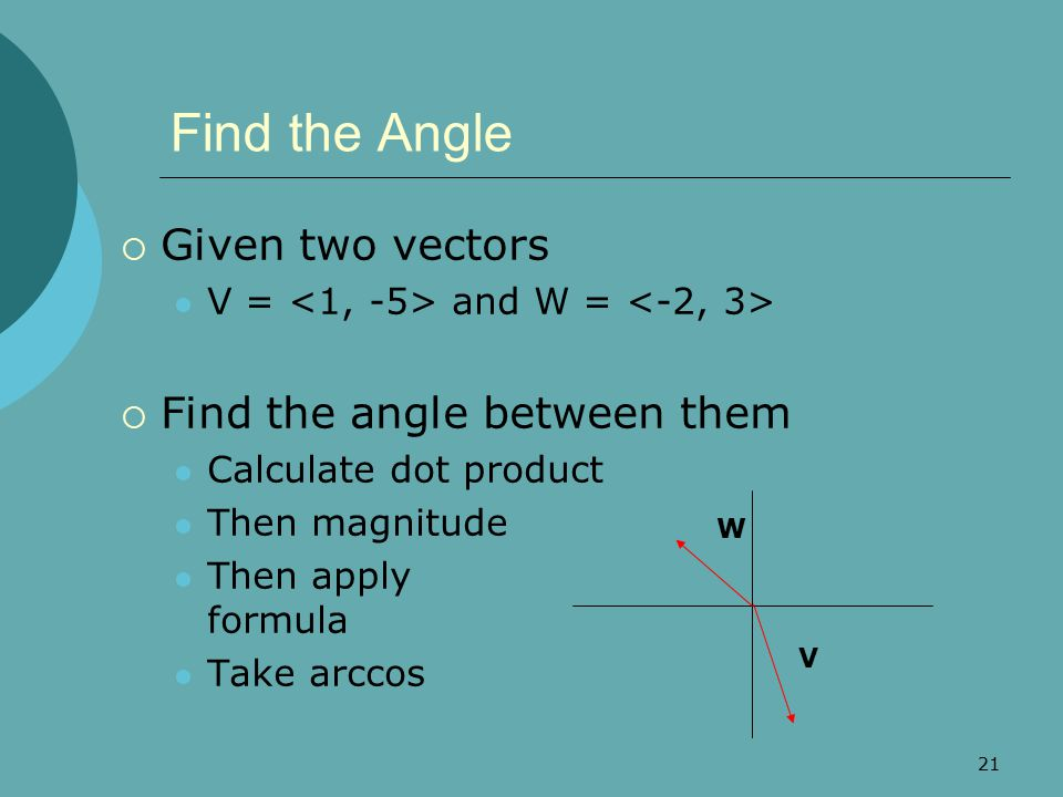 Find the Angle Given two vectors Find the angle between them