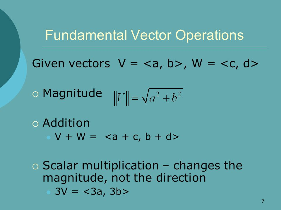 Fundamental Vector Operations