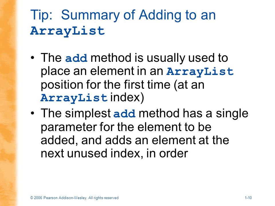 Tip: Summary of Adding to an ArrayList