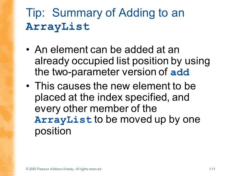 Tip: Summary of Adding to an ArrayList