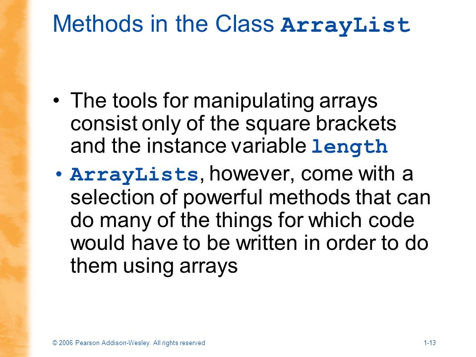Methods in the Class ArrayList