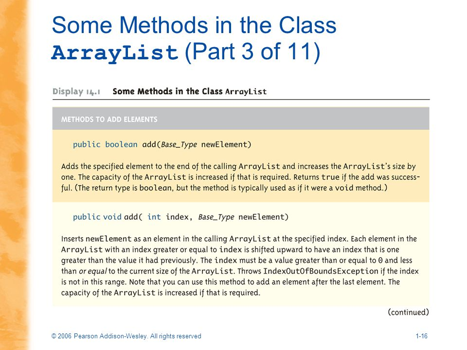 Some Methods in the Class ArrayList (Part 3 of 11)