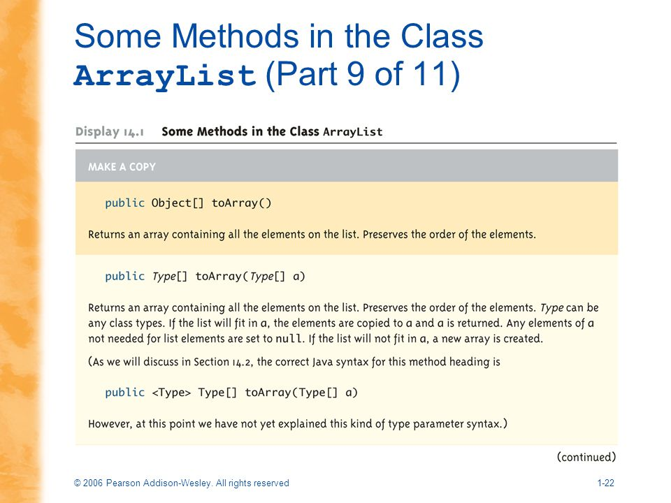Some Methods in the Class ArrayList (Part 9 of 11)
