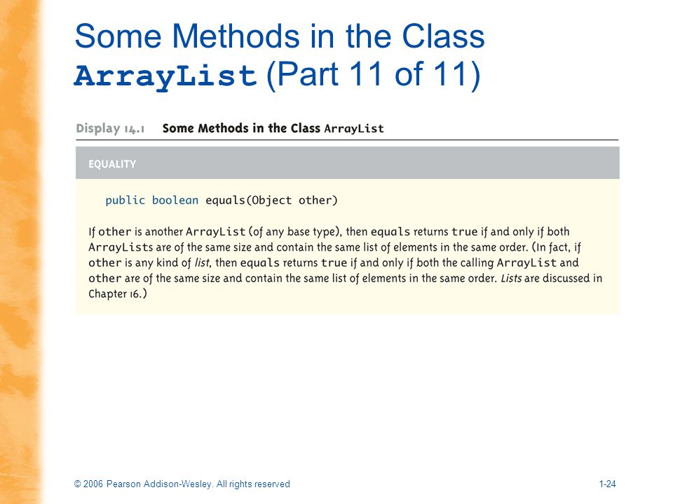 Some Methods in the Class ArrayList (Part 11 of 11)