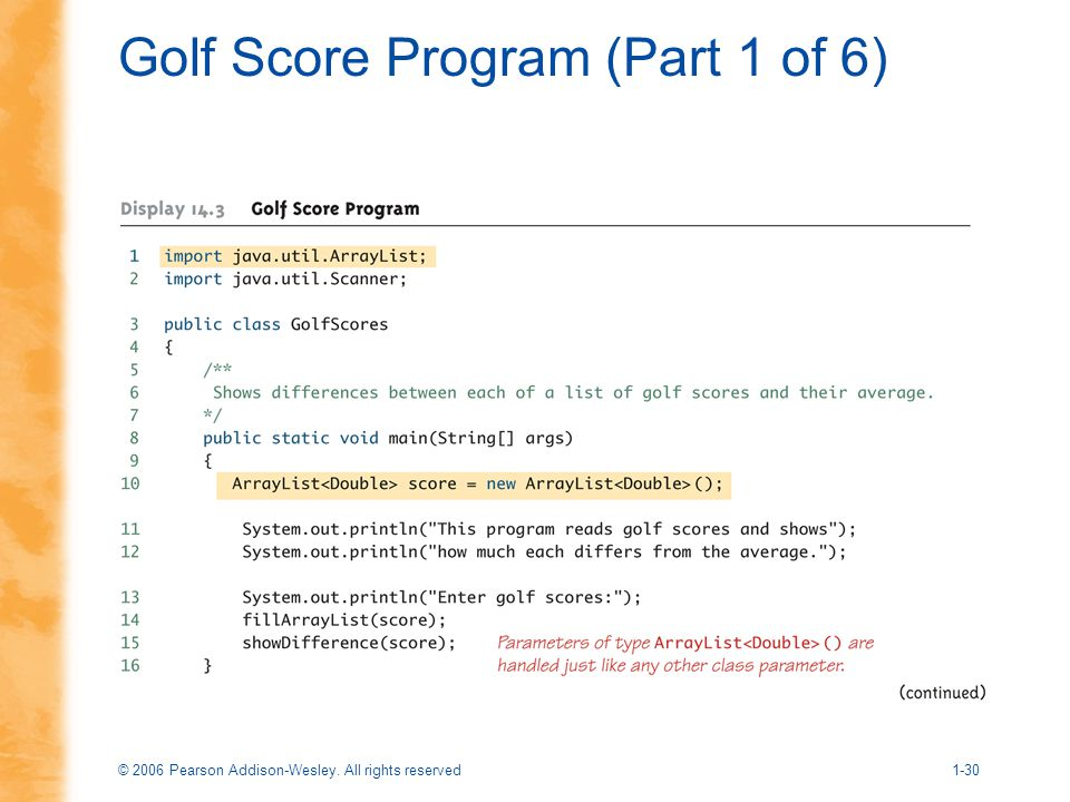 Golf Score Program (Part 1 of 6)
