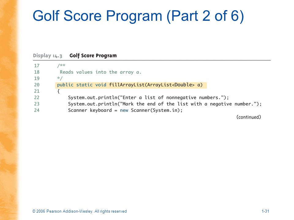 Golf Score Program (Part 2 of 6)