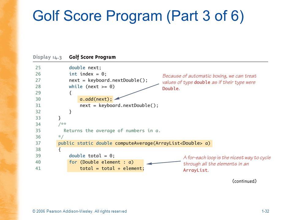 Golf Score Program (Part 3 of 6)