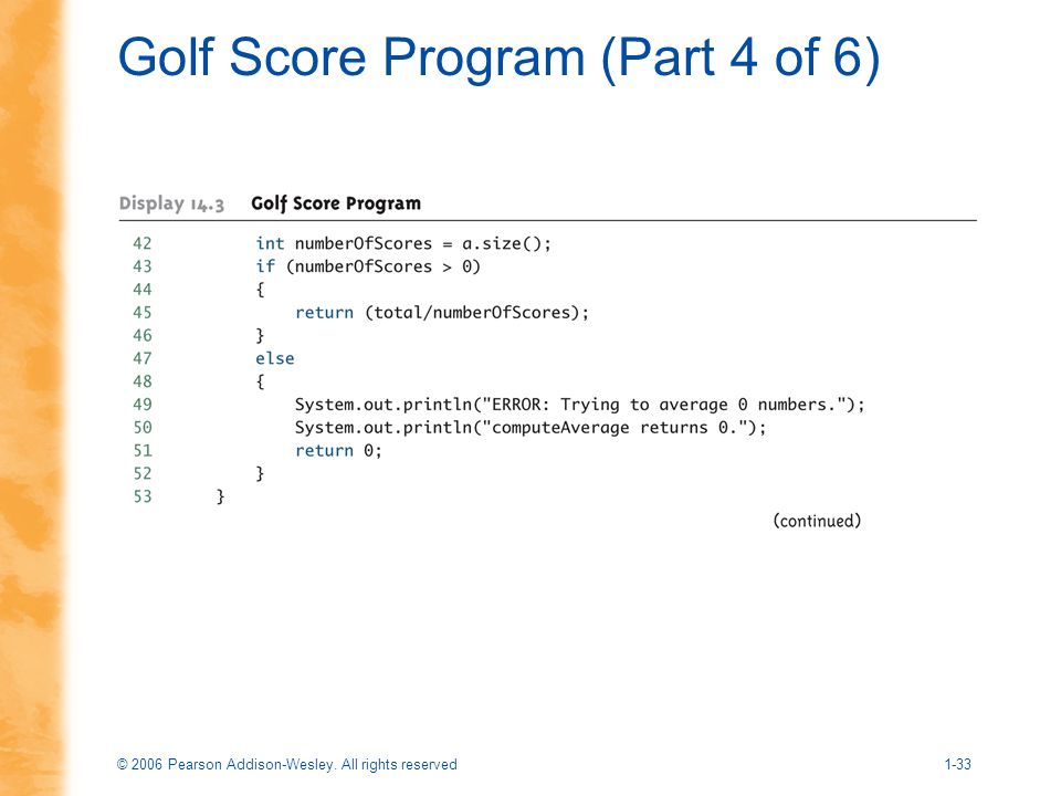 Golf Score Program (Part 4 of 6)