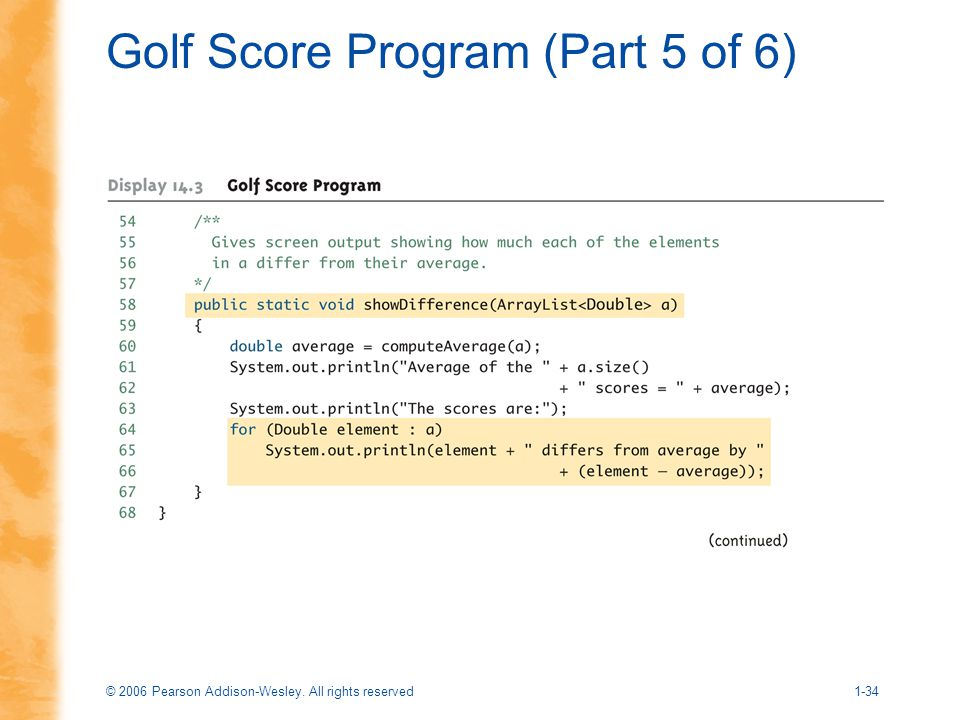Golf Score Program (Part 5 of 6)