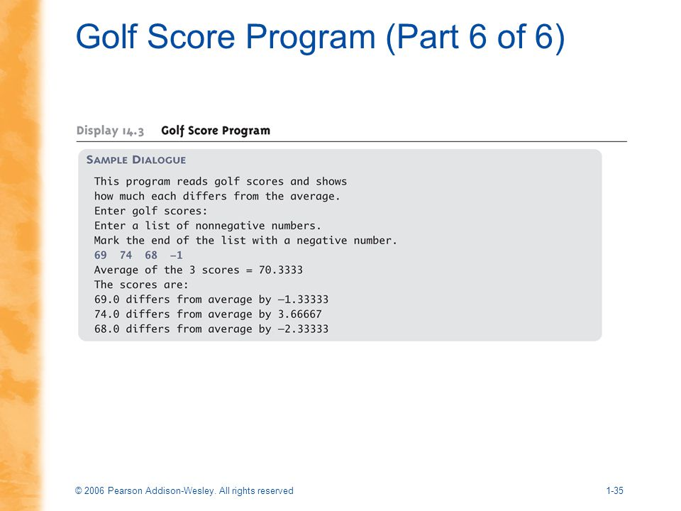 Golf Score Program (Part 6 of 6)