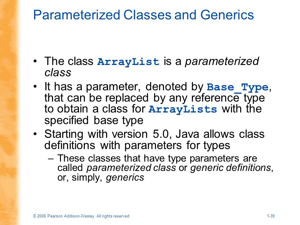 Parameterized Classes and Generics