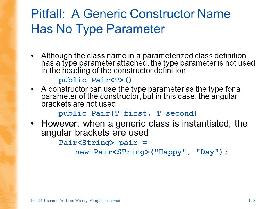 Pitfall: A Generic Constructor Name Has No Type Parameter