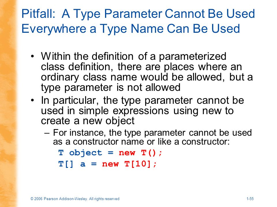 Pitfall: A Type Parameter Cannot Be Used Everywhere a Type Name Can Be Used