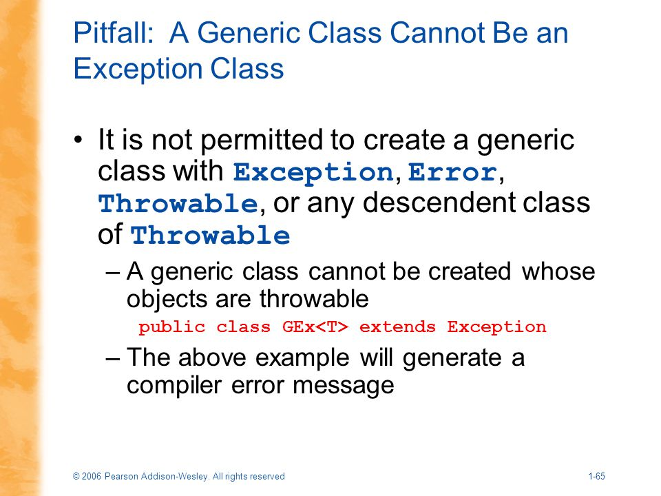 Pitfall: A Generic Class Cannot Be an Exception Class