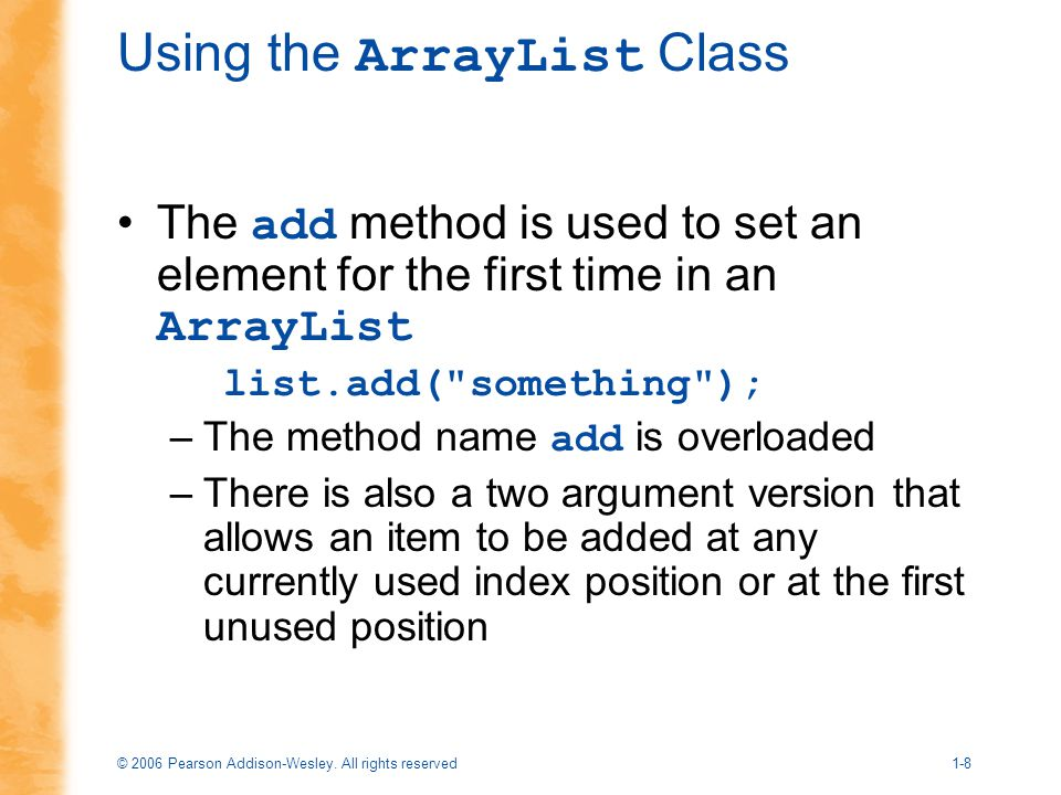 Using the ArrayList Class