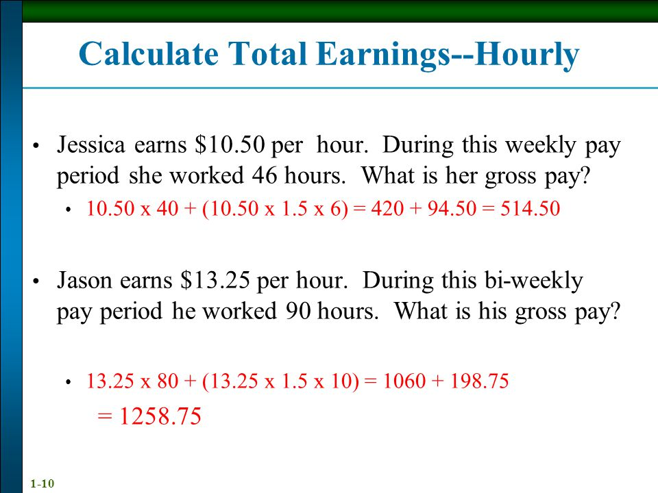 Calculate Total Earnings--Hourly