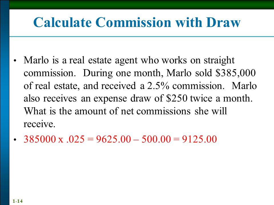 Calculate Commission with Draw