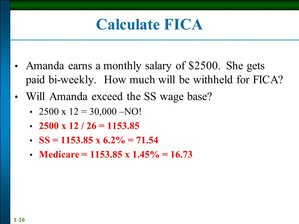 Calculate FICA Amanda earns a monthly salary of $2500. She gets paid bi-weekly. How much will be withheld for FICA