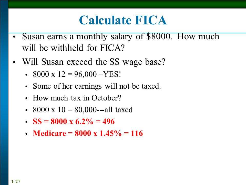 Calculate FICA Susan earns a monthly salary of $8000. How much will be withheld for FICA Will Susan exceed the SS wage base
