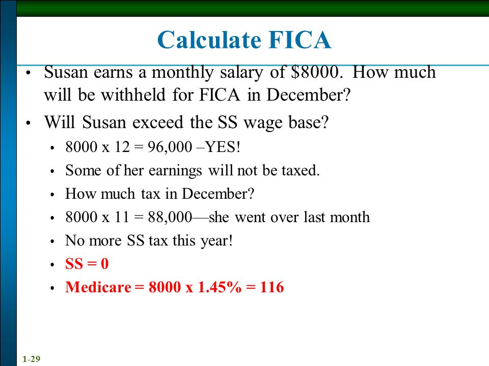 Calculate FICA Susan earns a monthly salary of $8000. How much will be withheld for FICA in December