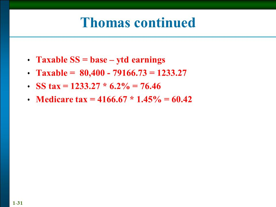 Thomas continued Taxable SS = base – ytd earnings