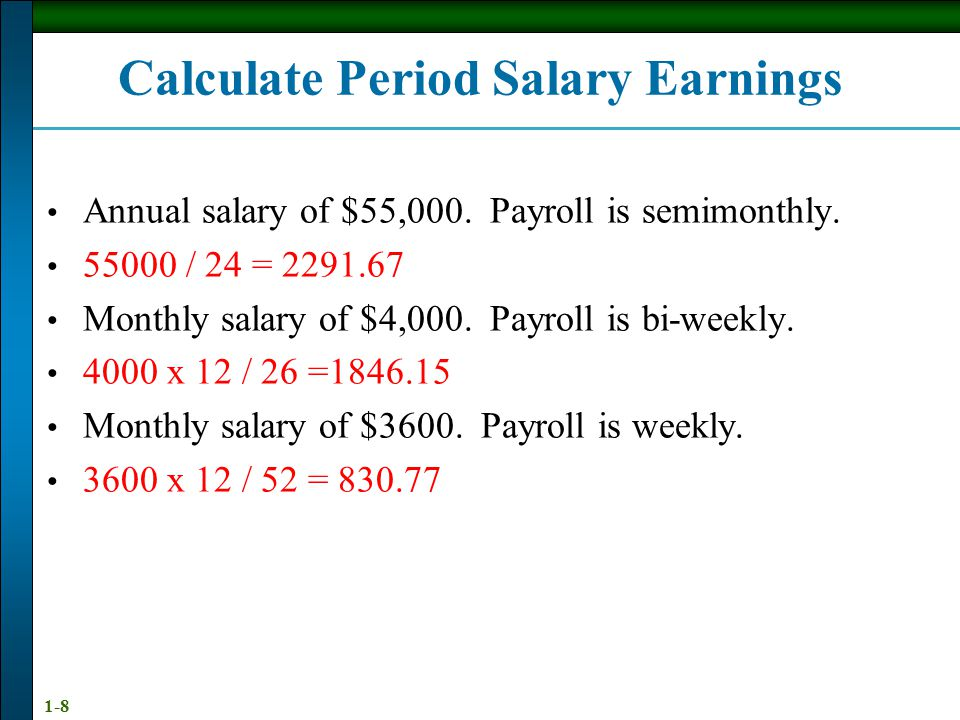 Calculate Period Salary Earnings