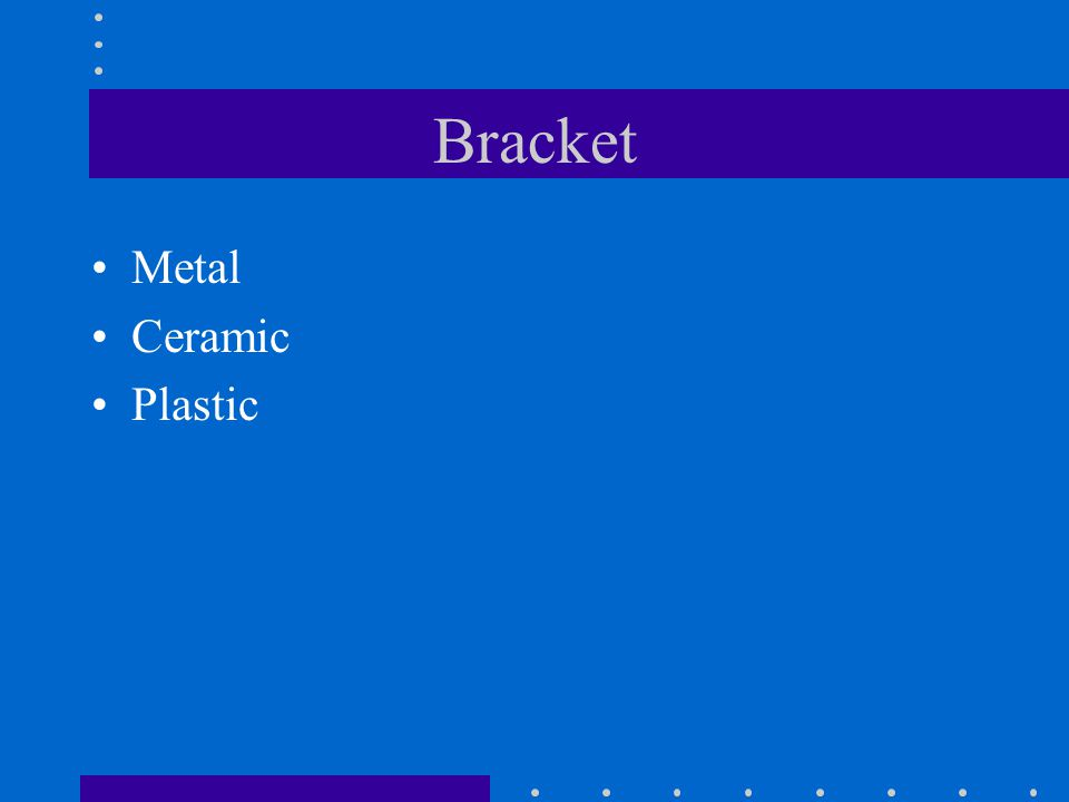 Bracket Metal Ceramic Plastic