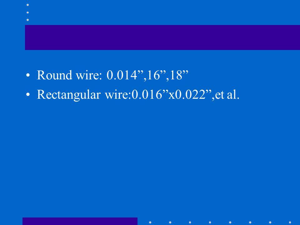 Round wire: 0.014 ,16 ,18 Rectangular wire:0.016 x0.022 ,et al.