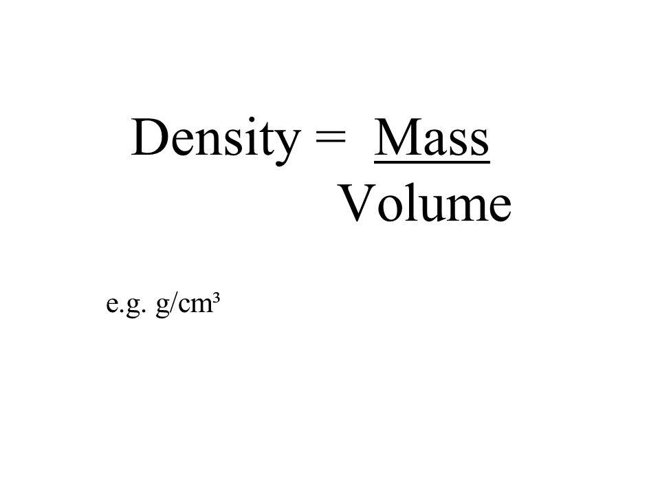 Density = Mass Volume e.g. g/cm³