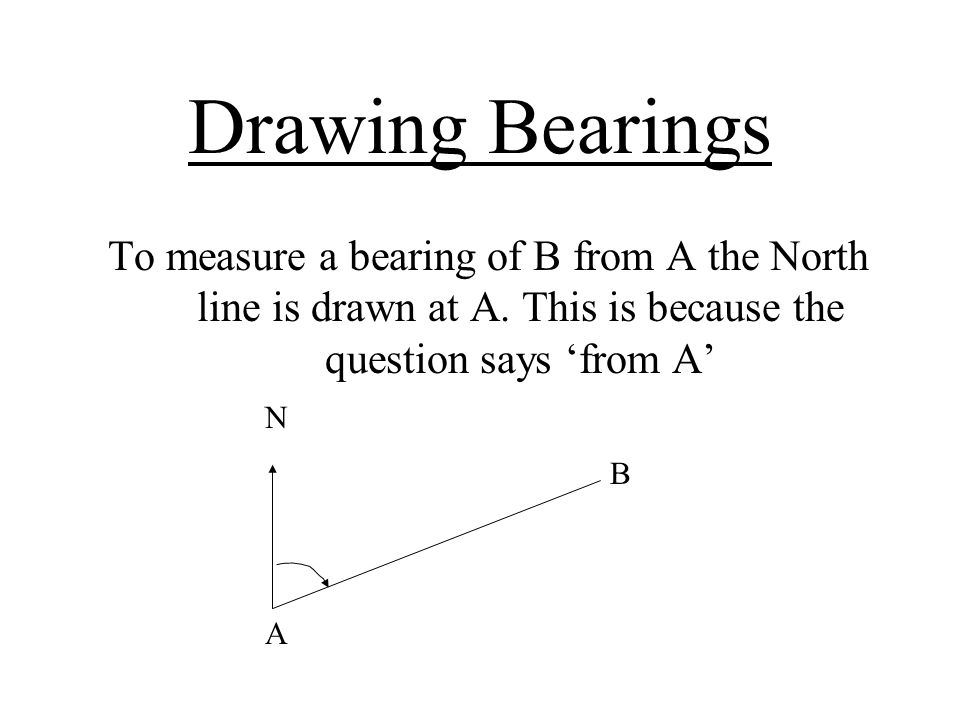 Drawing Bearings To measure a bearing of B from A the North line is drawn at A. This is because the question says 'from A'