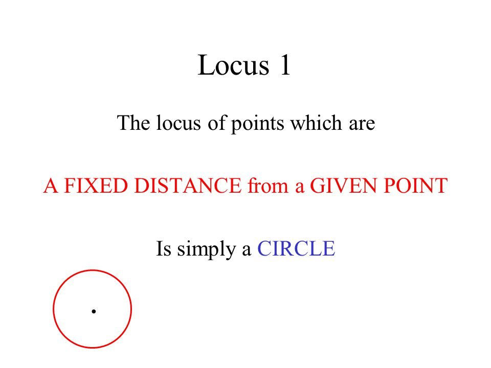 Locus 1 The locus of points which are
