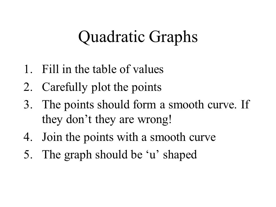 Quadratic Graphs Fill in the table of values Carefully plot the points