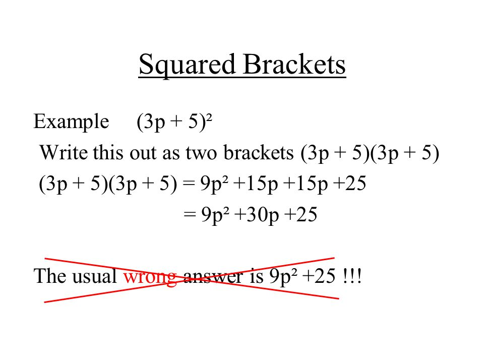 Squared Brackets Example (3p + 5)²