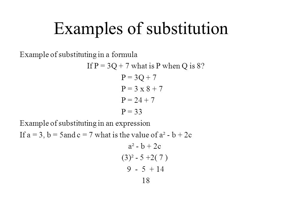 Examples of substitution