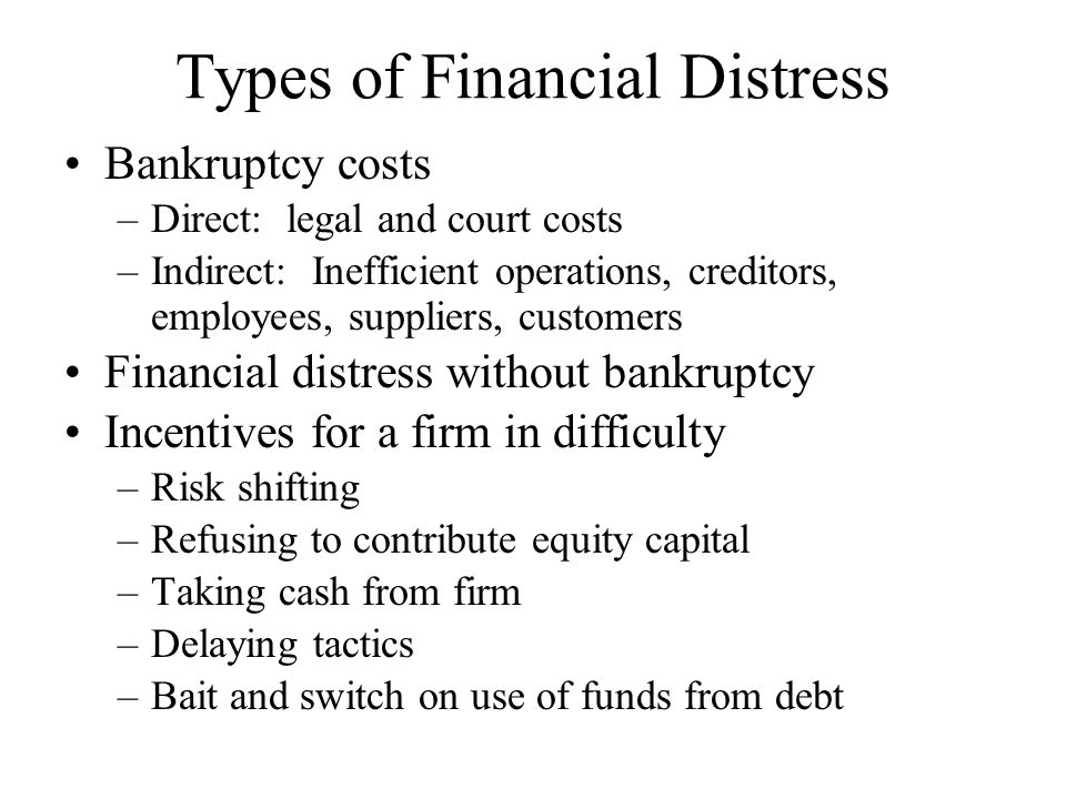 Types of Financial Distress