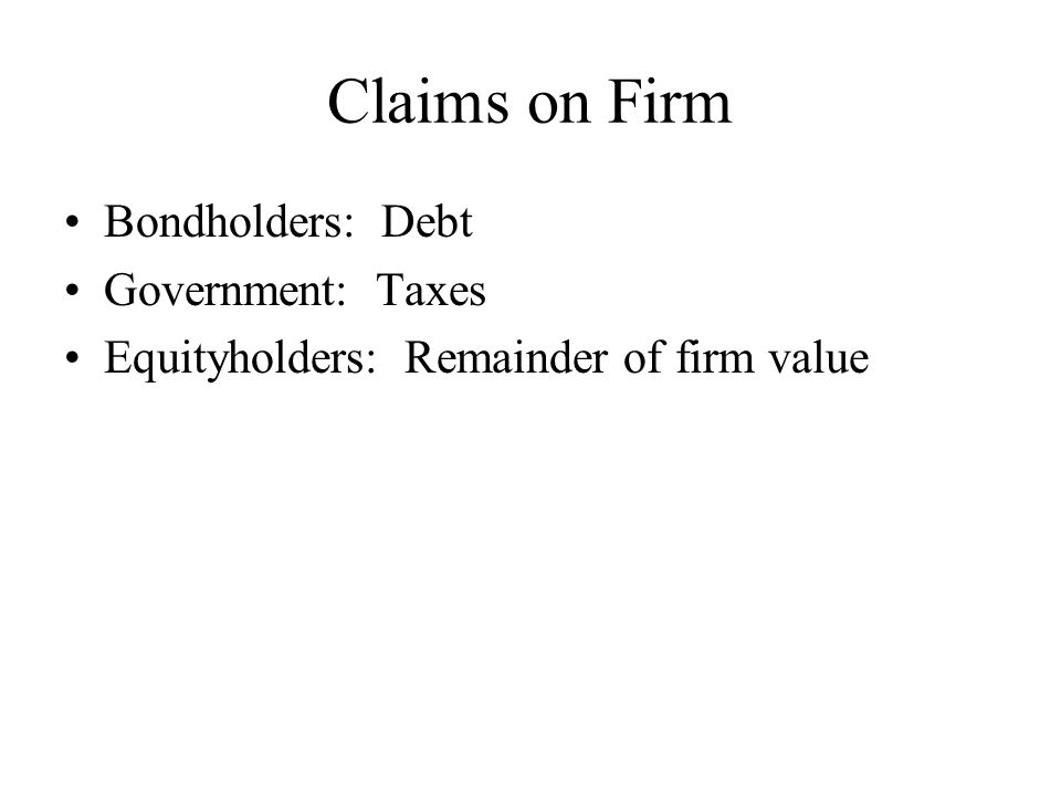 Claims on Firm Bondholders: Debt Government: Taxes