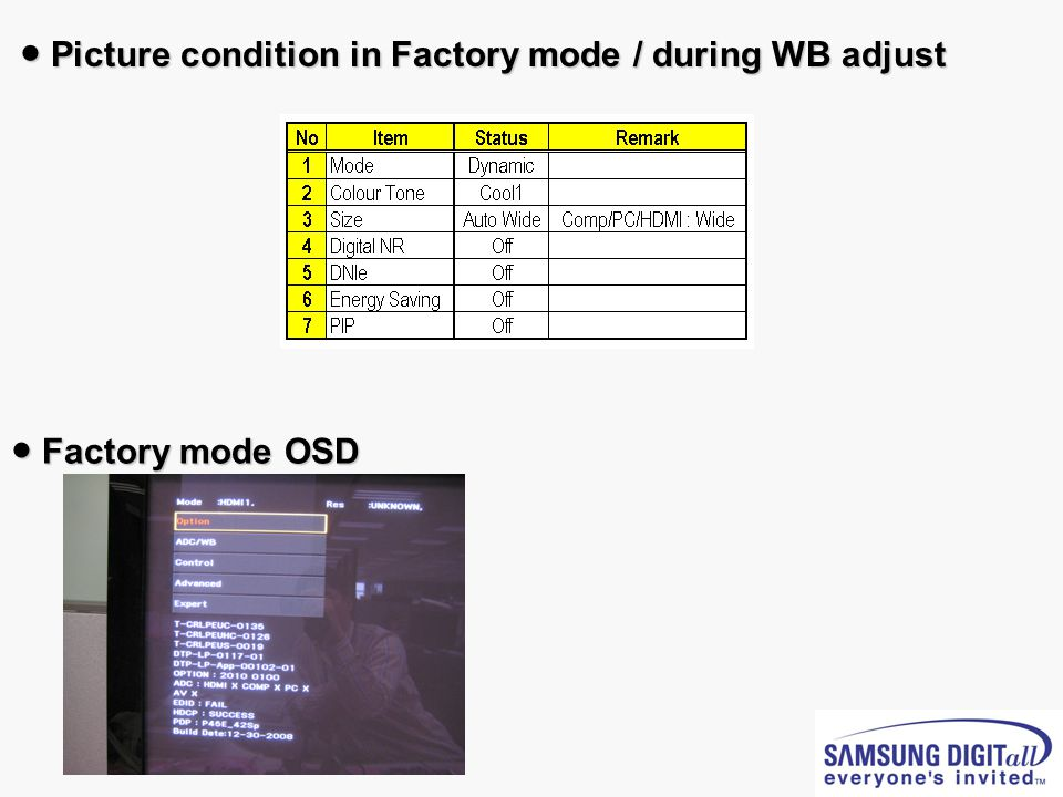 ● Picture condition in Factory mode / during WB adjust