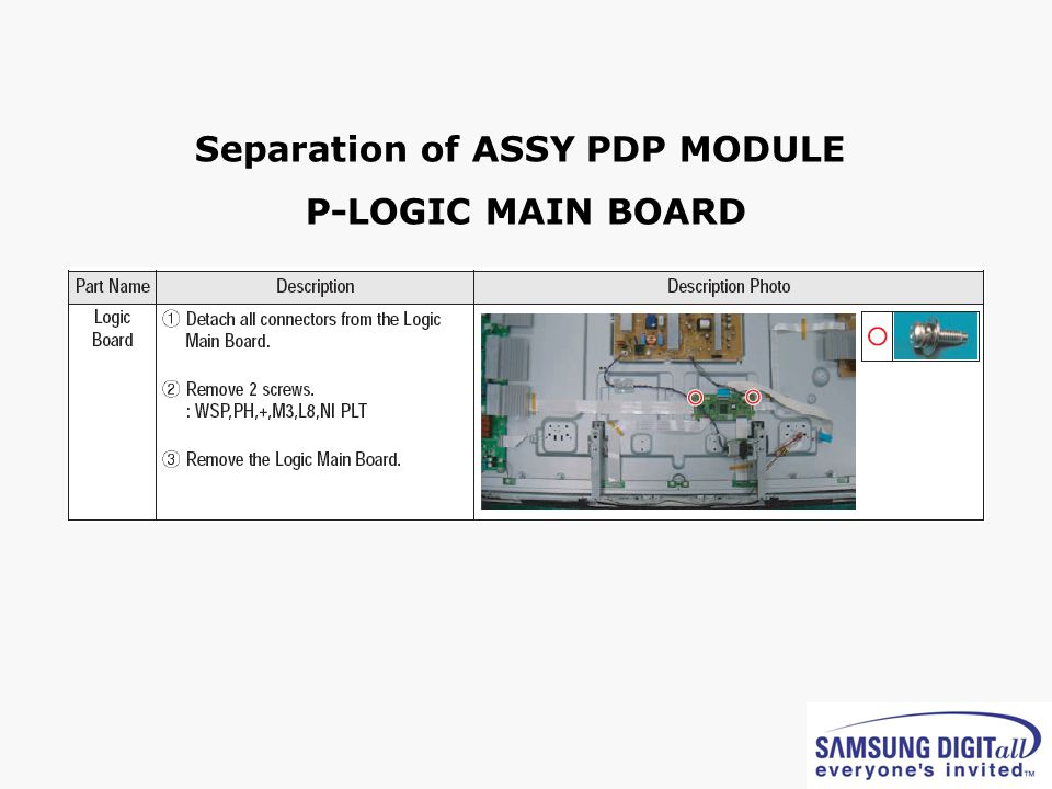 Separation of ASSY PDP MODULE