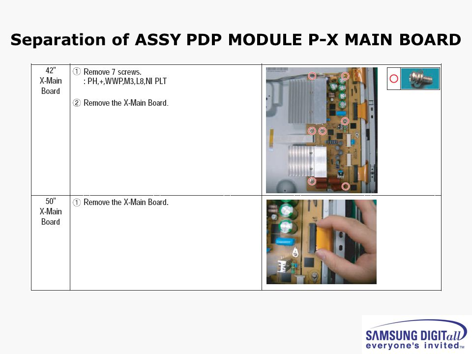 Separation of ASSY PDP MODULE P-X MAIN BOARD