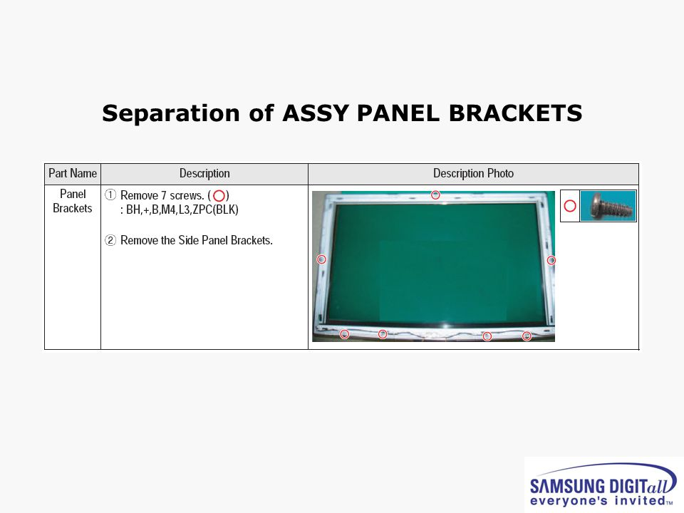 Separation of ASSY PANEL BRACKETS